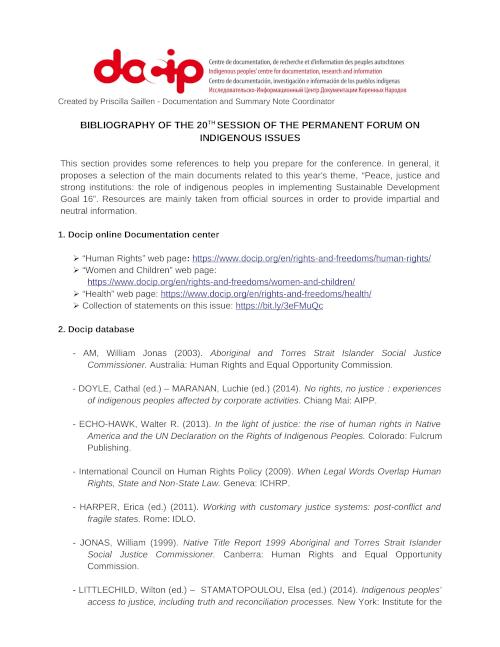Bibliography UNPFII 2019 page1 EN