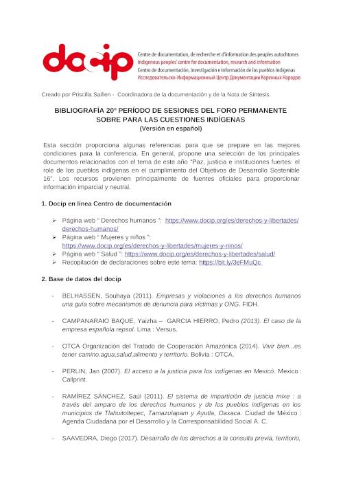 Download the UNPFII Bibliography 2021 in Spanish