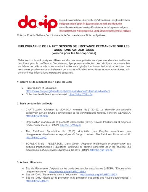 Bibliography UNPFII 2019_page1_500_FR