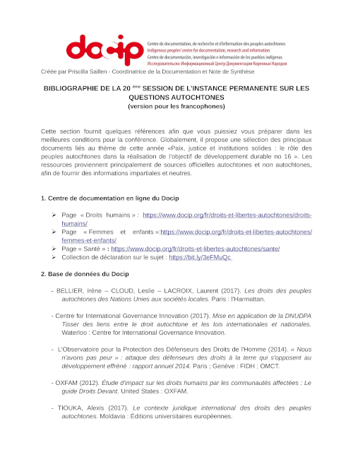 Download the UNPFII Bibliography 2021 in French