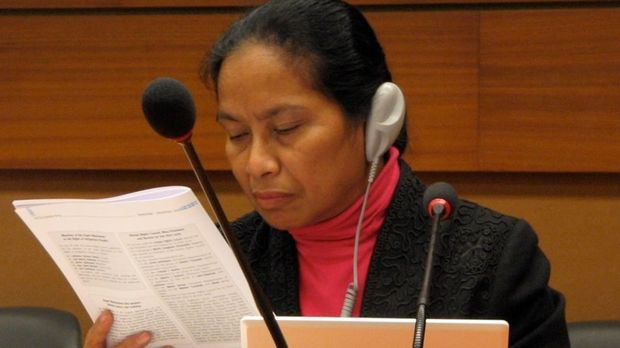 Photo: Pelpina Sahureka at the UN © Fund Rescue Maluku Sekarang